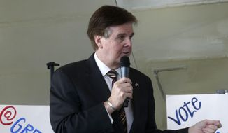 Texas lieutenant governor candidate Dan Patrick speaks during a rally in Lubbock, Texas, Tuesday, Oct. 28, 2014. (AP Photo/Lubbock Avalanche-Journal, Shannon Wilson) ALL LOCAL TELEVISION OUT