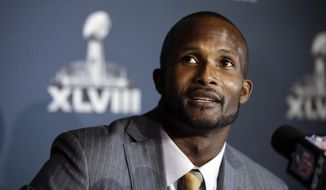 Denver Broncos cornerback Champ Bailey talks with reporters during a news conference Sunday, Jan. 26, 2014, in Jersey City, N.J. The Broncos are scheduled to play the Seattle Seahawks in the NFL Super Bowl XLVIII football game Sunday, Feb. 2, in East Rutherford, N.J. (AP Photo/Mark Humphrey)