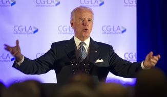 Vice President Joe Biden addresses the sixth North American Strategic Infrastructure Leadership Forum welcoming reception in Washington in this Tuesday, Oct. 28, 2014, file photo. (AP Photo/Cliff Owen, File)