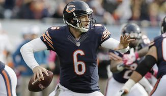 Chicago Bears quarterback Jay Cutler (6) throws a pass against the Miami Dolphins during the second half of an NFL football game Sunday, Oct. 19, 2014 in Chicago. (AP Photo/Nam Y. Huh)