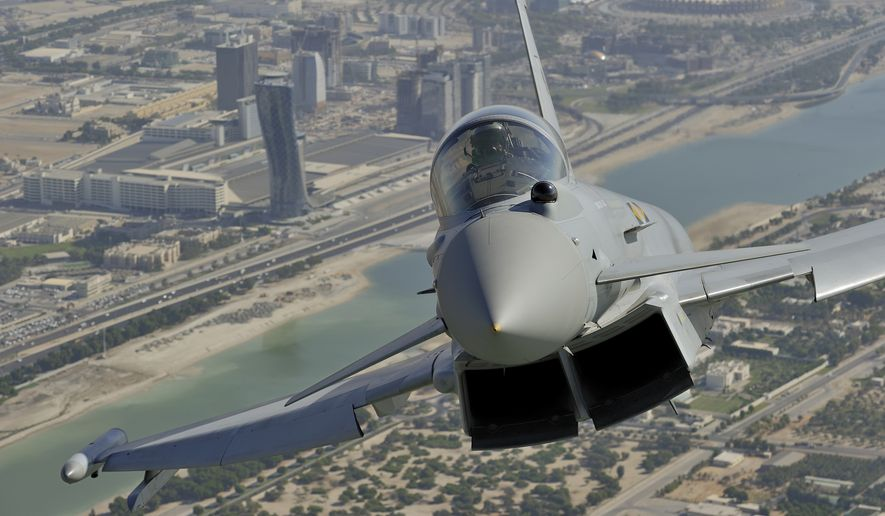 A Eurofighter Typhoon flies over Abu Dhabi. (eurofighter.com) **FILE**