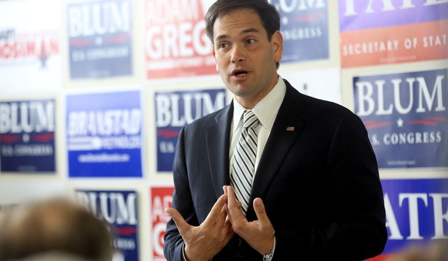 U.S. Sen. Marco Rubio, R-Fla., a potential 2016 presidential candidate, speaks during a public rally at U.S. House candidate Rod Blum's campaign office on Wednesday, Oct. 29, 2014, in Dubuque, Iowa. (AP Photo/The Telegraph Herald, Jessica Reilly) ** FILE **