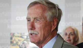 Sen. Angus King, I-Maine speaks in Portland, Maine, in this Aug. 18, 2014, file photo. (AP Photo/Joel Page, File)