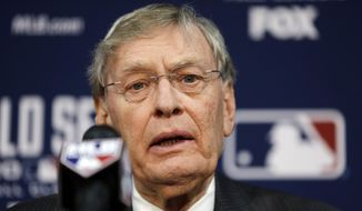 Baseball commissioner Bud Selig speaks at a news conference before Game 2 of baseball's World Series between the Kansas City Royals and the San Francisco Giants Wednesday, Oct. 22, 2014, in Kansas City, Mo. (AP Photo/Jeff Roberson)