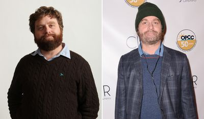 Actor Zach Galifianakis promoting 'The Hangover' in 2009 and after 2 Hangover sequels.