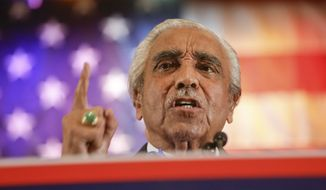 Rep. Charles Rangel speaks during a rally for Lieutenant Governor candidate Kathy Hochul and Gov. Andrew Cuomo Thursday, Oct. 30, 2014, in New York. (AP Photo/Frank Franklin II) ** FILE **