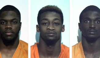 """These undated photos provided by the Washington County, Pennsylvania, correctional facility show, from left, Jonathan Barlow, D'Andre Dunkley, Corey Ford, Rodney Gillin Jr. and James Williamson. The five football players from the California University of Pennsylvania were arrested and suspended from the school after police say they beat and stomped a man outside an off-campus restaurant, then fled yelling """"Football strong!"""" (AP Photo/Washington County, Pa. Correctional Facility)"""