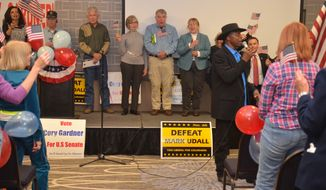 Lloyd Marcus, chairman of the Conservative Campaign Committee, addresses a rally in Denver on Saturday, Nov. 1, 2014. The organization is an independent PAC. (Photo by Judson Phillips)