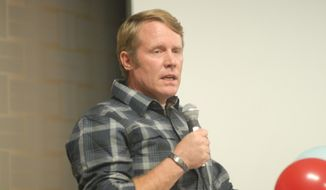 At the Conservative Campaign Committee rally in Denver on Saturday, Nov. 1, 2014, Mark Geist spoke about the 2012 Benghazi attack on U.S. diplomats. One of the security operators at Benghazi, Mr. Geist was one of the men who violated orders and went to help Ambassador Chris Stevens. (Photo by Judson Phillips)