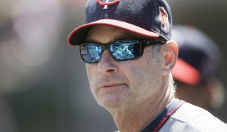 Minnesota Twins coach Paul Molitor is seen in the dugout during the sixth inning of a baseball game against the Detroit Tigers in Detroit, Saturday, May 10, 2014. (AP Photo/Carlos Osorio)