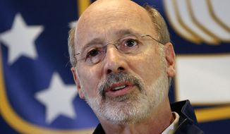 Pennsylvania Democratic gubernatorial candidate Tom Wolf speaks during a rally at the United Steelworkers of America headquarters in downtown Pittsburgh, Monday, Nov. 2, 2014. Wolf is looking to unseat incumbent Republican Governor Tom Corbett in Tuesday's mid-term election. (AP Photo/Gene J. Puskar)