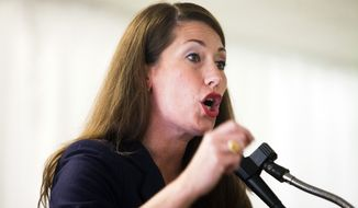 Alison Lundergan Grimes speaks at the United Auto Workers Hall in Bowling Green, Ky., on Nov. 3, 2014. (Associated Press/Daily News, Austin Anthony) **FILE**