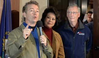 Senate Minority Leader Mitch McConnell (right), who is facing upstart challenger Alison Lundergan Grimes, has been getting support from fellow Kentucky Sen. Rand Paul (left). (Associated Press)