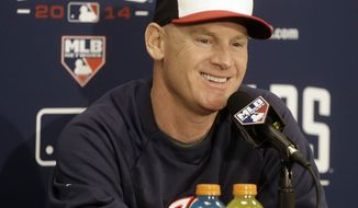 Washington Nationals' manager Matt Williams  smiles while answering questions during a news conference Sunday, Oct. 5, 2014, in San Francisco. The Giants are scheduled to face the Washington Nationals in Game 3 of the NL Division Baseball Series on Monday. (AP Photo/Ben Margot)