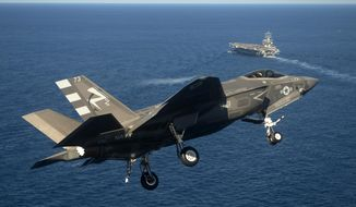 This Monday, Nov. 3, 2014, photo provided by the U.S. Navy shows an F-35C Joint Strike Fighter conducts an approach on the aircraft carrier USS Nimitz, 40 miles off San Diego, Calif. The Navy has completed the first two landings of F-35C Joint Strike Fighters, a milestone for the new plane. (AP Photo/U.S. Navy, Andy Wolfe)