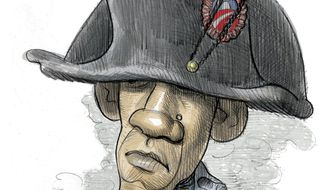 Illustration on Obama's political setback in the 2014 mid-term elections by Alexander Hunter/The Washington Times