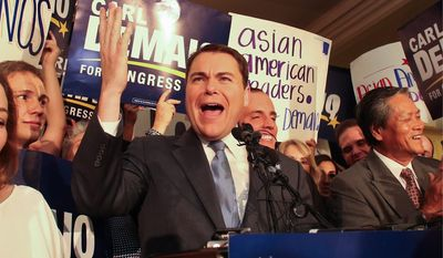 Carl DeMaio, Republican congressional candidate in the 52nd district, addresses his supporters during election night activities Tuesday, Nov. 4, 2014, in San Diego. (AP Photo/Lenny Ignelzi)