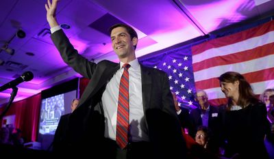 Rep. Tom Cotton, R-Ark. waves at his election watch party in North Little Rock, Ark., after defeating Sen. Mark Pryor, D-Ark., Tuesday, Nov. 4, 2014. (AP Photo/Danny Johnston)