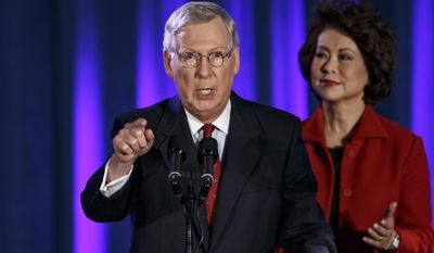 Senate Minority Leader Mitch McConnell and wife Elaine Chao, former Labor Secretary, at an Election Night victory party in Louisville, Ky. (AP Photo/J. Scott Applewhite)