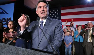 Sen.-elect Cory Gardner (R-Colo.) delivers his victory speech to supporters during the GOP election night gathering at the Hyatt Regency Denver Tech Center, in Denver on Election Day, Nov. 4, 2014. Gardner beat his Democratic opponent, incumbent Sen. Mark Udall. (Associated Press)