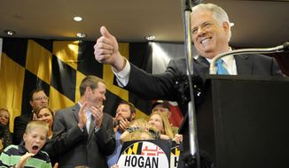 Republican Maryland Gov.-elect Larry Hogan speaks to supporters after beating Democrat Anthony Brown in the state's gubernatorial race Wednesday in Annapolis. (Associated Press)