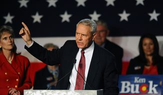 Colorado Republican candidate for the House of Representatives Ken Buck speaks at a GOP election night gathering at the Hyatt Regency Denver Tech Center on Tuesday, Nov. 4, 2014, in Denver. (AP Photo/Chris Schneider)