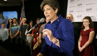 U.S. Sen.-elect Joni Ernst speaks to supporters during an election night rally, Tuesday, Nov. 4, 2014, in West Des Moines, Iowa. Ernst defeated U.S. Rep. Bruce Braley, D-Iowa, in the race to replace retiring U.S. Sen. Tom Harkin. (AP Photo/Charlie Neibergall) **FILE**