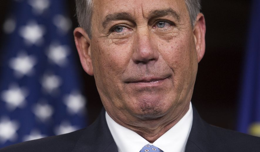 House Speaker John Boehner of Ohio listens during a news conference on Capitol Hill in Washington, Thursday, Nov. 6, 2014. Boehner said the Republican-controlled Congress will act to approve the Keystone XL pipeline, make changes in the health care law and encourage businesses to hire more veterans. (AP Photo/Cliff Owen)