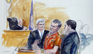 This artist rendering shows Irek Hamidullin, front center, his attorney Robert Wagner, front left, and interpreter Ihab Samra, front right, as judge Henry Hudson, left, listens in Federal Court in Richmond, Va., Friday, Nov. 7, 2014. (AP Photo/Dana Verkouteren) ** FILE **