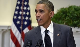 """President Barack Obama comments on the prisoner release from North Korea following an announcement for U.S. Attorney Loretta Lynch to be the next Attorney General, Saturday, Nov. 8, 2014, in the Roosevelt Room of the White House in Washington. The president said he is """"very grateful"""" that North Korea has released the last two Americans in its custody.  (AP Photo/Susan Walsh) **FILE**"""