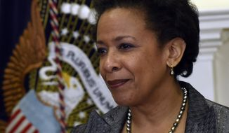 U.S. Attorney Loretta Lynch is seen in the Roosevelt Room of the White House in Washington, Saturday, Nov. 8, 2014, after President Barack Obama nominated her to be the next Attorney General succeeding Eric Holder. (Associated Press) **FILE**
