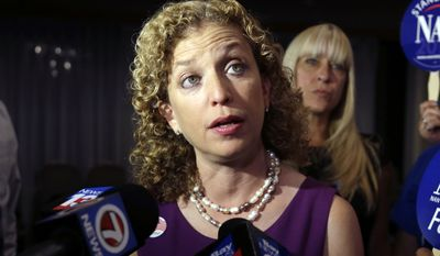 In this Aug. 26, 2014, file photo, Democratic National Committee Chairwoman, Rep. Debbie Wasserman Schultz, D-Fla., speaks to the news media in Weston, Fla. (AP Photo/Lynne Sladky, File)