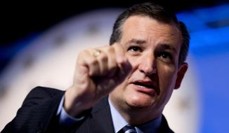 FILE - In this Sept. 26, 2014 file photo, Sen. Ted Cruz, R-Texas speaks in Washington. The 2016 presidential race was about the new Republican-controlled Congress even before the 2014 polls closed. As the GOP rout became clear late Tuesday, would-be Democratic frontrunner Hillary Rodham Clinton was granted a ready-made foil in the Republican-led Congress that begins next year just as a handful of high-profile senators seized on their new status as a springboard into 2016. Key Republican governors, meanwhile, have already begun to distinguish themselves from unpopular congressional leaders in both parties. (AP Photo/Manuel Balce Ceneta, File)