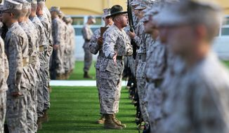 Staff Sgt. Christian Fuentes motivates recruits with Company F, 2nd Recruit Training Battalion, as he moves down the rows during the senior drill instructor inspection at Marine Corps Recruit Depot San Diego, Aug. 23, 2013.  The purpose of the inspection is to provide drill instructors an opportunity to test recruits in multiple areas, to include their uniforms.(U.S. Marine Corps photo by Cpl. Benjamin E. Woodle)