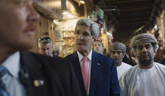 U.S. Secretary of State John Kerry visits the Mattrah market, in Muscat, Oman, Monday, Nov. 10, 2014. In the final stretch of years of negotiations to limit Tehran's nuclear production, U.S. Secretary of State John Kerry met Monday for a second straight day with Iranian Foreign Minister Javad Zarif and European Union senior adviser Catherine Ashton in Oman's capital.  The Obama administration is facing its last best chance to curb Iran's nuclear program — not just to meet an end-of-the-month deadline for a deal, but also to seal one before skeptical Republicans who will control Congress next year are able to scuttle it. (AP Photo/Nicholas Kamm, Pool)