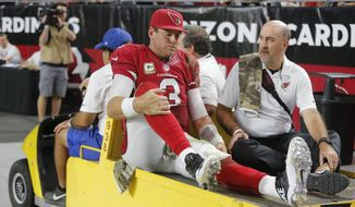 Arizona Cardinals quarterback Carson Palmer (3) leaves the game after being injured against the St. Louis Rams during the second half of an NFL football game, Sunday, Nov. 9, 2014, in Glendale, Ariz. (AP Photo/Rick Scuteri)