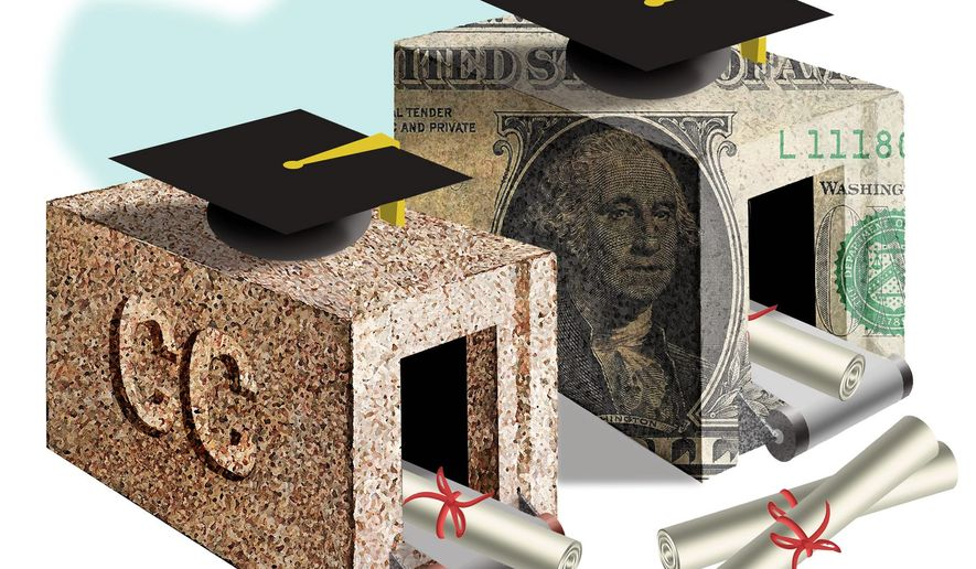 Illustration on the real performance of for-profit colleges by Alexander Hunter/The Washington Times