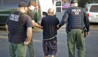 U.S. Bureau of Immigration and Customs Enforcement agents take a person into custody during an immigration sweep in Ontario, California. (Associated Press) ** FILE **