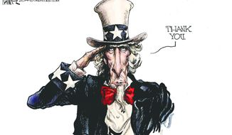 Thank You. (Illustration by Michael Ramirez for Creators Syndicate)