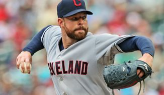 FILE - In this Aug. 21, 2014, file photo, Cleveland Indians pitcher Corey Kluber throws against the Minnesota Twins during a baseball game in Minneapolis. Kluber won the AL Cy Young Award on Wednesday, Nov. 12, 2014. (AP Photo/Jim Mone, File)