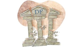 Dodd-Frank Shakey Bank Illustration by Greg Groesch/The Washington Times