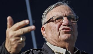 Maricopa County Sheriff Joe Arpaio speaking with the media in Phoenix in this Jan. 9, 2013, file photo. (AP Photo/Ross D. Franklin, File)