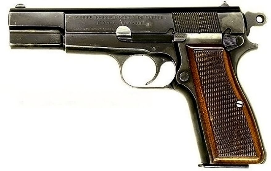 BROWNING HI-POWER- a single-action, semi-automatic handgun available in 9mm and .40 S&W calibers. It is based on a design by American firearms inventor John Browning, and completed by Dieudonné Saive at Fabrique Nationale (FN) of Herstal, Belgium. Browning died in 1926, several years before the design was finalized. The Hi-Power is one of the most widely used military pistols in history, having been used by the armed forces of over 50 countries. The Hi Power name is somewhat misleading and alluded to the 13-round magazine capacity; almost twice that of contemporary designs such as the Luger or Mauser 1910.