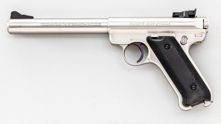 RUGER MK II - a rimfire single-action semi-automatic pistol chambered in .22 Long Rifle and manufactured by Sturm, Ruger & Company. Ruger rimfire pistols are some of the most popular handguns made, with over three million sold.