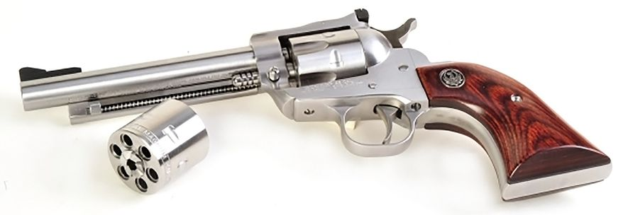 RUGER SINGLE SIX CONVERTIBLE - produced by Sturm, Ruger. The Single Six was first released in June 1953. The ability to shoot .22 rimfire or .22 Magnum made it practical for the woods or practice range, and it taught legions of people how to shoot.