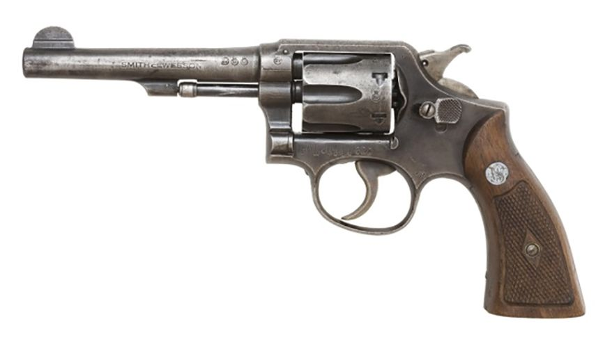 SMITH & WESSON MODEL 10 - previously known as the Smith & Wesson .38 Hand Ejector Model of 1899, the Smith & Wesson Military & Police or the Smith & Wesson Victory Model, is a revolver of worldwide popularity. It was the successor to the Smith & Wesson .32 Hand Ejector Model of 1896 and was the first Smith & Wesson revolver to feature a cylinder release latch on the left side of the frame like the Colt M1889. In production since 1899, it is a six-shot double-action revolver with fixed sights. Over its long production run it has been available with barrel lengths of 2 in, 3 in, 4 in, 5 in, and 6 in. Barrels of 2.5 inches are also known to have been made for special contracts. Some 6,000,000 of the type have been produced over the years, making it the most popular centerfire revolver of the 20th century.