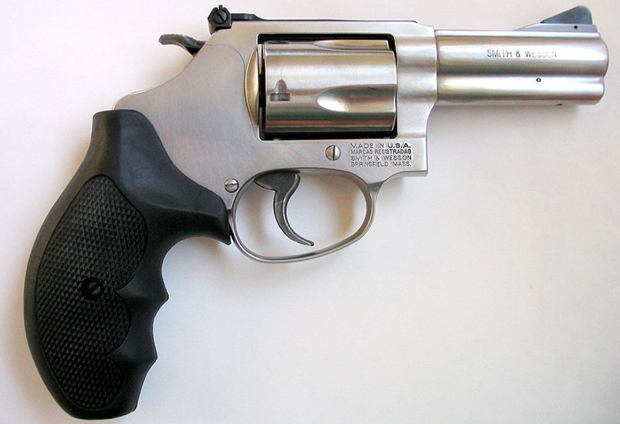 SMITH & WESSON MODEL 60 - a 5 shot revolver that is chambered in either .38 Special or .357 Magnum calibers. It was the first revolver produced from stainless steel.