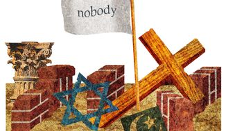 Illustration on equality and tolerance as an excuse for anti-religious tyranny by Alexander Hunter/The Washington Times