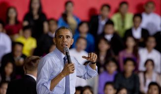 US President Barack Obama speaks during an event with Young South Asian Youth Leaders at Yangon University in Yangon Myanmar, Friday, Nov. 14, 2014.(AP Photo/Gemunu Amarasinghe)