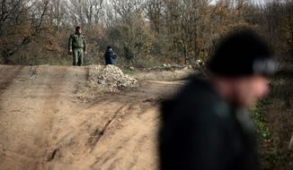 Border policemen stand guard at Bulgarian-Turkish border where many of the illegal immigrants enter in 2013. Bulgarian authorities built a 20-mile fence on its border with Turkey to prevent illegal entry. (Associated Press)